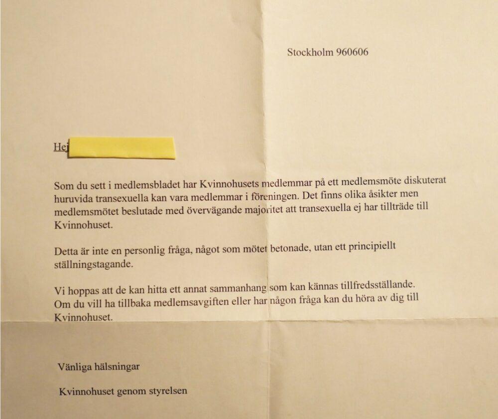 Brevet från Kvinnohuset